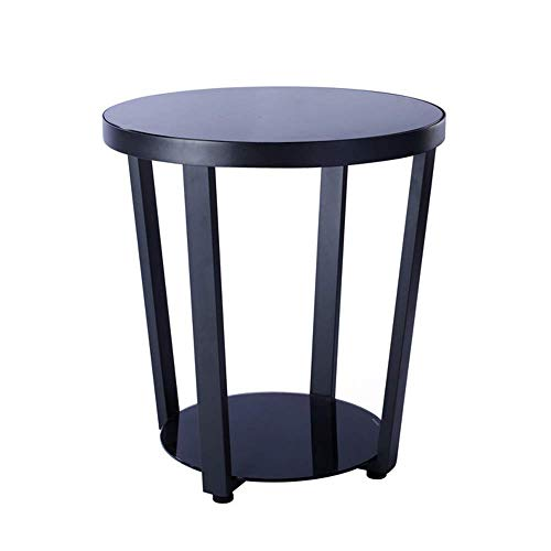 Decoración de muebles Mesas auxiliares para el hogar Mesa auxiliar de madera maciza Mesa de sofá de hierro forjado Mesa de cristal Mesita de noche Pequeño redondo Estante de almacenamiento de 2 niv