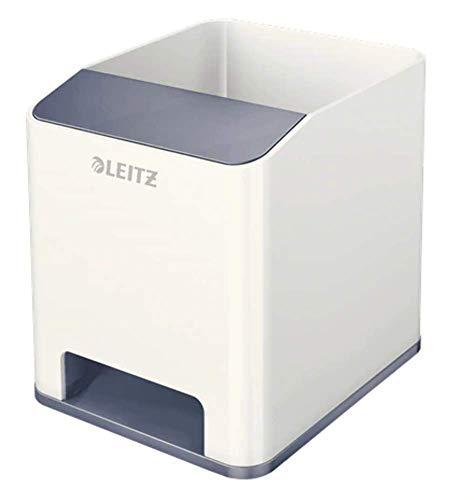 Leitz WOW Sound Stifteköcher mit Soundverstärkungsfunktion, perlweiß /grau, 53631001