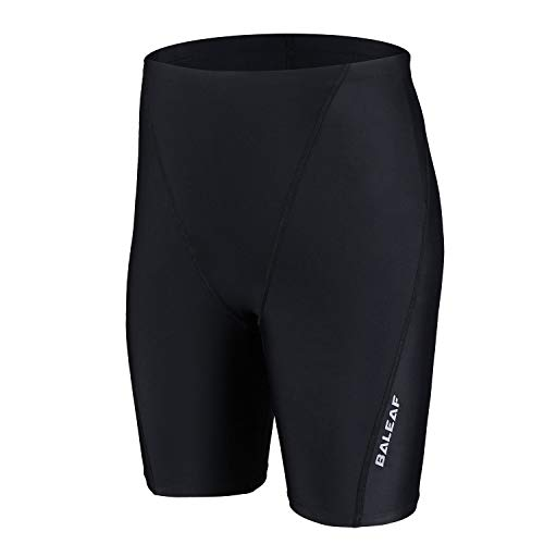 BALEAF Boys' Athletic Swim Jammer UPF 50+ Quick Dry Youth Training Swimming Short Swimwear Black/Black L