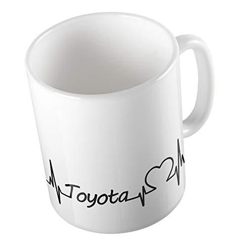 Bedruckte Tasse Becher für Toyota Fans Herzschlag Puls Herz Automarke Liebe