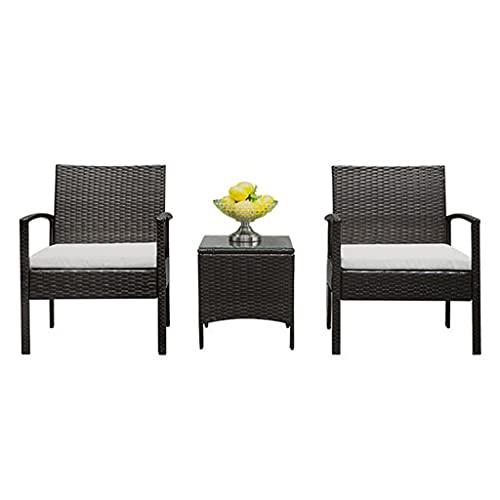 yangdan Q Juego de 3 piezas de muebles de patio de mimbre con cojín extraíble y mesa de centro con espacio de almacenamiento, juego de sillas de sofá para jardín junto a la piscina