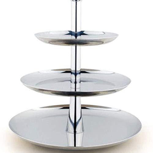 Roestvrijstalen Fruit Lade Creatieve Mode Multilayer Drie Drie-Tier Fruitschaal Taartvorm Dessert Dienblad Fruit Basket
