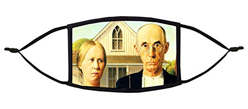 American Gothic (Grant Wood)- 3-Ply Adjustable Face Mask - Washable & Reble