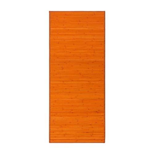 Alfombra Pasillera, Dormitorio o Salón de Madera Bambú(Naranja, 75 x 175 cm)
