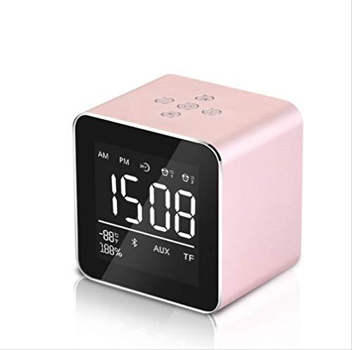 Wekkertimer, draagbare test draadloze bluetooth luidspreker wekkerkaart kleine audio-mini-subwoofer roze