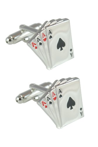 COLLAR AND CUFFS LONDON - HOCHWERTIGE Manschettenknöpfe mit Geschenk Box - Vier ASSE - Stilvolle Messing - 4 ASSE Aus Einem Kartenspiel - Silber Farbe - Poker Magie Zauberer Spiel