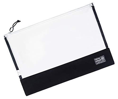 Rough Enough Document Safe Clear File Organizer Folders Plastic Transparent Bag File Black Pouch A4 Paper Letter Manila Size for Filing Case Large with Zipper Carry Legal Notebook for School Office