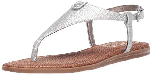 Circus by Sam Edelman Women's Carolina Flat Sandal, Soft Silver Tumnled Bolt, 6 Medium US