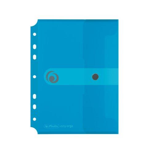 Herlitz 11293826 Dokumententasche A5 zum Abheften, Polypropylen-Folie, 6-er Packung, mit Druckknopfverschluss, transparent blau