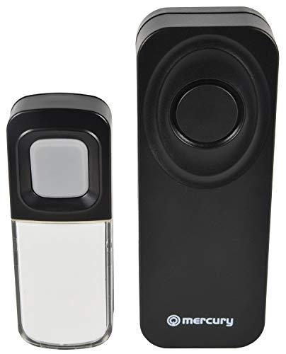 Mercury 350.296UK DB295-BLK deurbel, draadloos, waterdicht, draagbaar, zwart