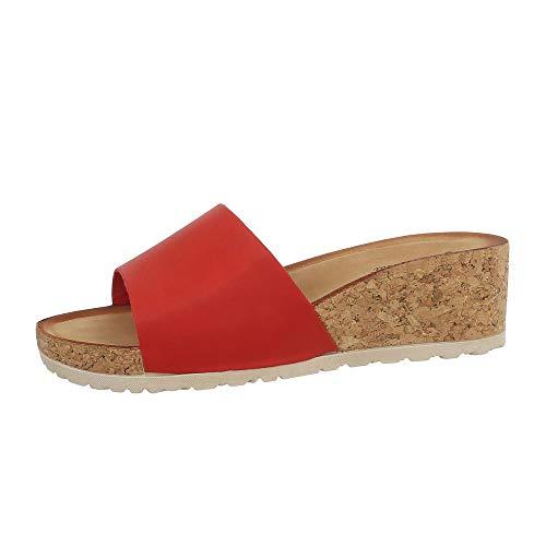 Ital-Design Damenschuhe Sandalen & Sandaletten Pantoletten Synthetik Rot Gr. 38