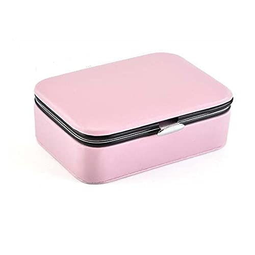 HUIJK Joyero Caja de joyería Caja de Almacenamiento de Viajes contenedor de Belleza joyería comestica joyería Organizador Maquillaje lápiz Labial Collar Regalo de cumpleaños Cajas (Color : Pink)