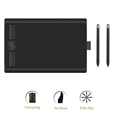 GAOMON M10K 2018 Version Stifttablett -10 x 6,25 Zoll Grafiktablett mit Zwei 8192 Druckempfindlichkeitsstufe Batterieloser Stiften