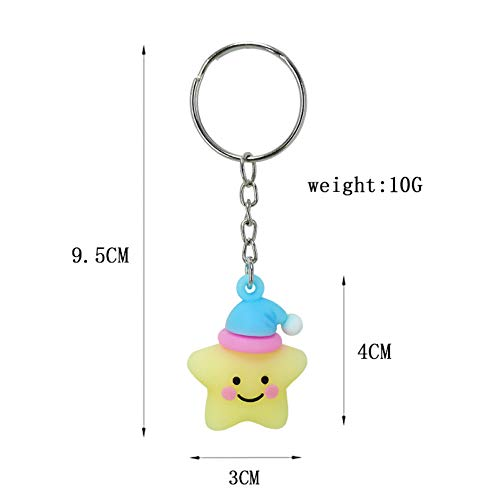 XHYKL PVC Zachte lijm materiaal cartoon lachend gezicht Pentagram sleutel gesp hanger meisje tas hanger speelgoed kleine Gift