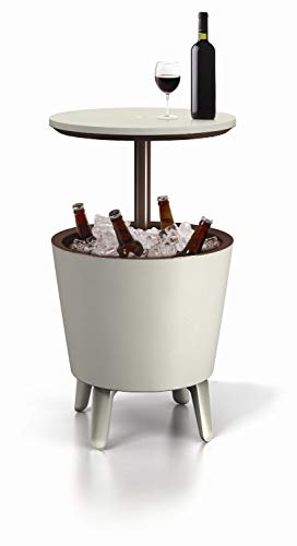 Keter 17186745 Cool Bar, Tavolino da caffè in plastica, allungabile, Colore: Marrone/Beige