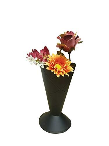 "2 pc Matte Black Metal Ice Cream Cone Vase 10"" Tall 5"" Across Waterproof Pot"