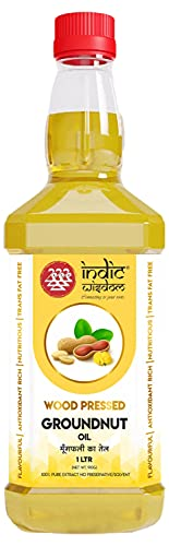 IndicWisdom Wood Pressed Groundnut Oil 1 Liter (Cold Pressed - Extracted on Wooden Churner)
