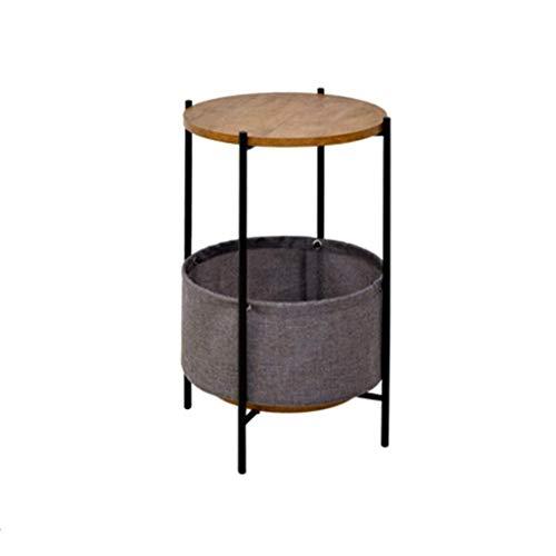 NYDZDM bijzettafel salontafel, ronde zijtafel met opbergmandje, moderne naast tafel bank tafel kleine hoektafel nachtkastje voor woonkamer, slaapkamer