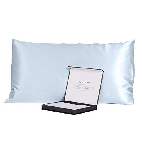 Fishers Finery 30mm 100% Pure Mulberry Silk Pillowcase, Good Housekeeping Quality Tested (Lt Blue, Queen)