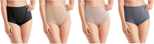 Maidenform Ladies' Tummy Toning Brief, 4-Pack (Black/Warm Steel/Over The Taupe/Private Jet, Large)