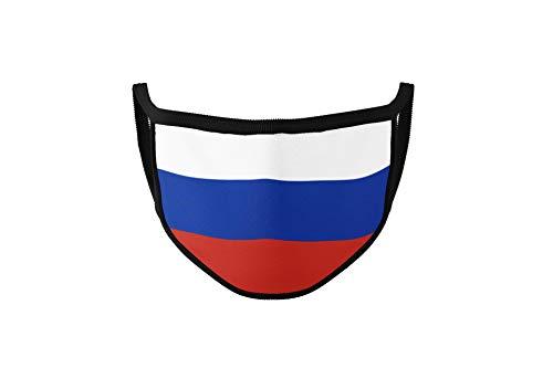 Maske mit Länderflagge aus Baumwolle waschbar, wiederverwendbar - Gesichtsmaske für Erwachsene, Damen und Herren mit Land (Russland)