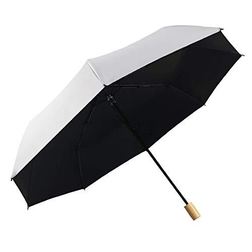 Paraguas Paraguas triple plegable con mango de madera maciza Parasol de caucho negro reforzado para lluvia y lluvia Paraguas de doble uso