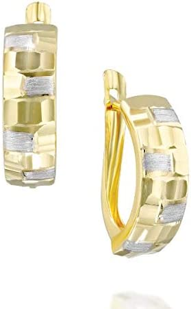 14k Solid White & Yellow Gold Rough Finished - Two Tone Curved Hoop Earrings - Hinged Latch Back Earrings - Mother's Day Gift (1.9 g, 0.79 in)