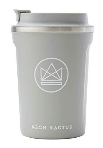 Neon Kactus Isolierter wiederverwendbarer Kaffeebecher/Reisetasse Grau