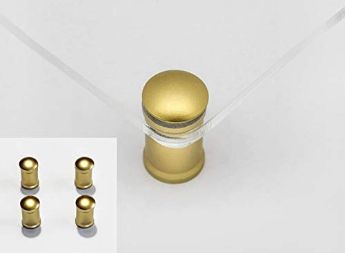 Distanziali per targhe, F Block 15mm blocco del cappuccio con granetto, kit 4 pezzi, alluminio colore gold (oro), blocca pannelli fino a sp. 10mm