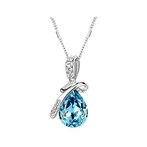 Eternal Love Teardrop Plated Crystal Water Drop Pendant Necklace, Fine...