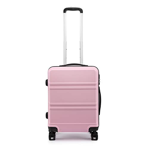 Kono 55cm Hard Shell Cabin Case 38L Carry On Hand Luggage 4 Wheeled Spinner Suitcase with TSA Lock (Pink)