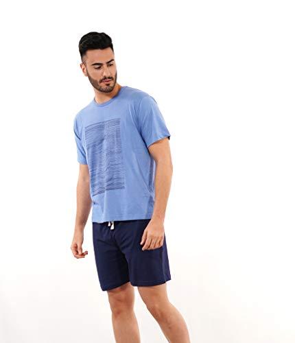 Babelo Homewear 🏠 - Pijama de Hombre de Verano – Pijama de Hombre 100% algodón Color Azul - Pijama de Verano de Manga Corta y pantalón Corto – Color Azul – Moda Homewear (S)