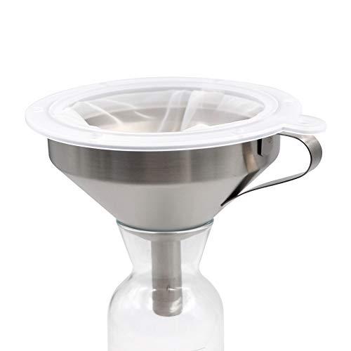 PROBEEALLYU Embudo con Filtro de Acero Inoxidable 100 Filtro de Malla Miel/Mermelada/Colador de Vino 5.2 Pulgadas, Bolsa de Filtro de Regalo Incluye