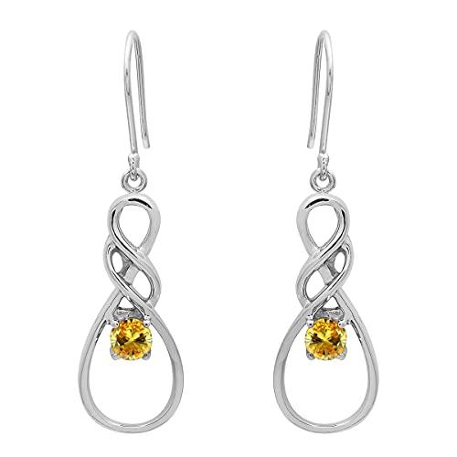 Shine Jewel 0.50 CT diseño celta Gancho Pendientes colgantes Plata de ley 925 Chapado en rodio Regalo de joyería hecho a mano para mujeres (CZ amarilla)
