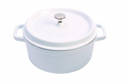 Staub Cast Iron Round Cocotte 4Quart White