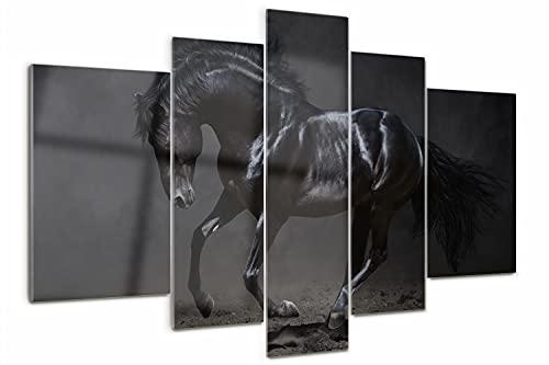 Tulup Cuadro de Cristal 170x100cm Decoracion de Pared Imagen Gráfica Pintura sobre Vidrio Impresión de 5 Piezas Moderno Vidrio Cristal - Caballo negro
