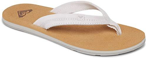 Roxy Women's Avila Suede Flip Flop Carver Sandal Sport Slide, White, 9 M US