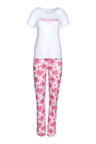 Louis&Louisa dames pyjama basic bloemenliefde wit roze allover