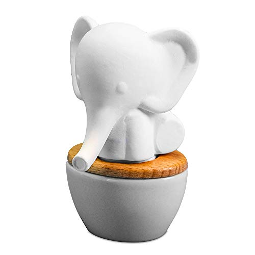 Elephant Aroma Diffuser   Small Ceramic and Porcelain Wicking Diffuser for Essential Oils   Subtle, Fresh Aroma for Home or Office   15mL Reservoir, 2 Weeks per Fill   No Electricity or Water Required