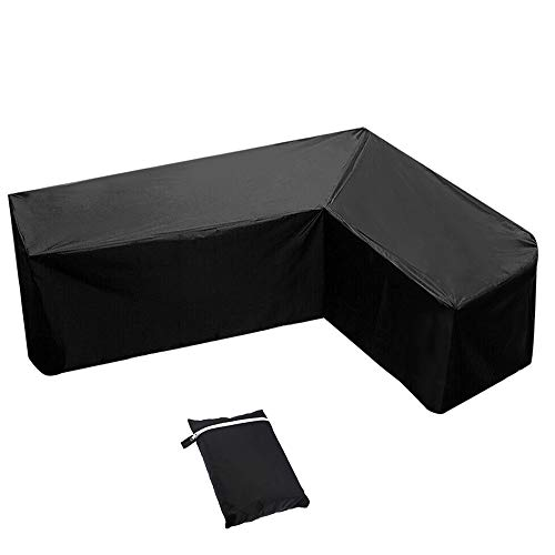 AOUSTHOP L Shaped Garden Furniture Cover,Patio Sofa Cover, Outdoor Waterproof Sectional Furniture Cover,Garden Couch Protector with Storage Bag for Moving (215x215x87cm)