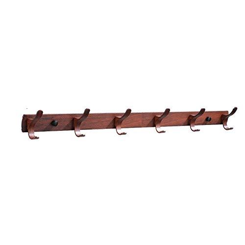 Espacio de aluminio imitación madera gancho doble gancho multifuncional fila gancho moda creativo casa sala de estar gancho montado en la pared-C4 resistente a la corrosión fácil de limpiar e hi