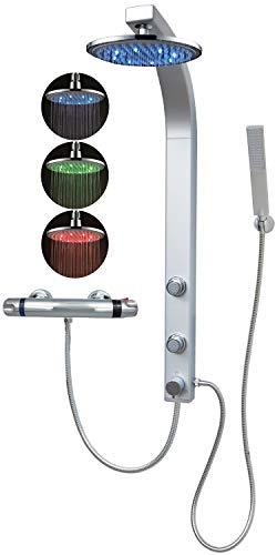 Duschpaneel Brausepaneel Duschsäule Duschsystem Thermostat Armatur große LED Regendusche mit 2 Massagedüsen, aus hochwertigem Kunststoff Handbrause Duschkopf Duscharmatur Wandmontage