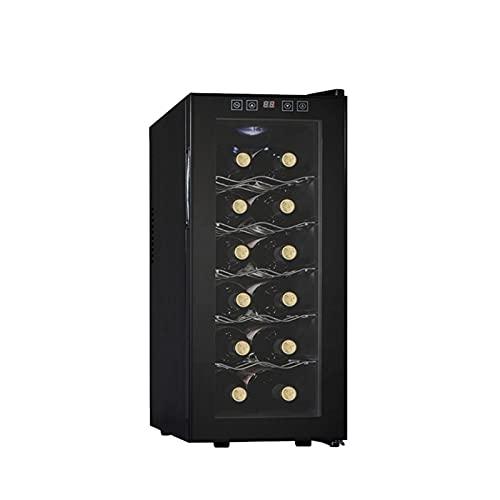 MIAOYO Vinoteca con Controles De Temperatura Digitales,Termoeléctrico Refrigerador De Vino,Capacidad De 12 Botellas Vinoteca,Operación Silenciosa Vinoteca,Negro,26x49.5x65cm