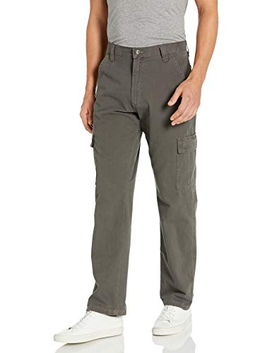 Wrangler Authentics Men's Classic Twill Relaxed Fit Cargo Pant, Olive Drab, 35 x 32