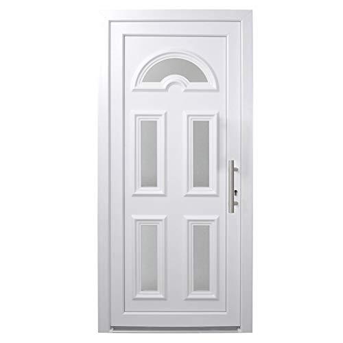 HORI® Haustür Paris I Kunststoff Haustüre mit Glaseinsatz I Weiß I Größe 2080 x 880 mm I DIN rechts