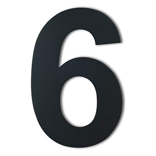 Gebürsteter moderner Edelstahl Hausnummer-203mm hoch-schwarze Beschichtung, schwebende Erscheinung (Nummer 6)