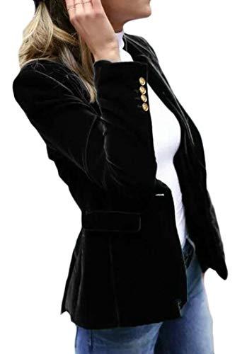 Sweetmini Veste blazer en velours avec un bouton pour femme - Noir - XL