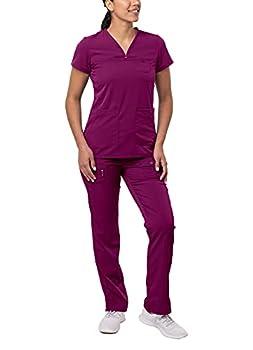Adar Pro Everyday Expert Scrub Set for Women - Curved V-Neck Scrub Top & Tapered Drawstring Scrub Pants - 4402 - Wine - 3X