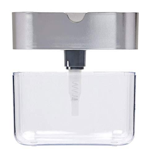 WARMWORD Dispensador de jabón para Cocina + Soporte de Esponja 2 en 1 - Diseño Innovador - Dispensador de jabón para Platos Dispensador de Fregadero sobre encimera