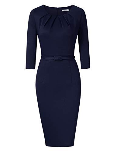 KOJOOIN Damen Etuikleid Business Bodycon Knielang Kleider Langarm Vintage Cocktailkleid mit Gürtel Blau Dunkelblau M